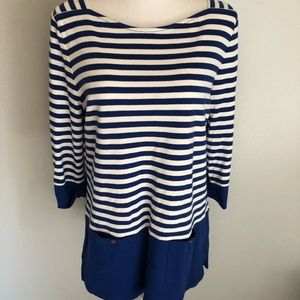 Navy White Striped Boatneck Nautical Top Size M